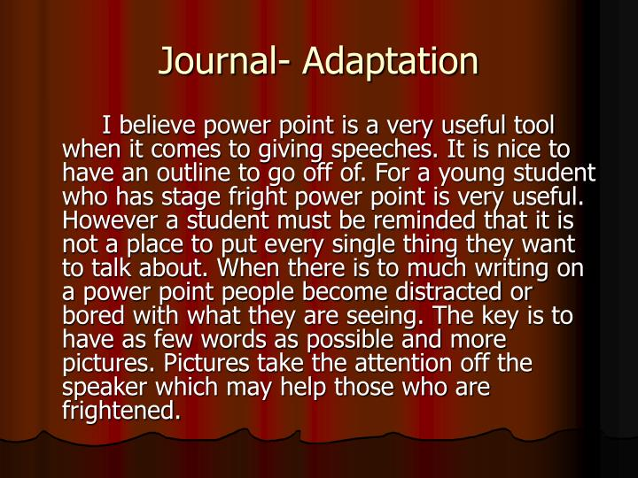 Journal- Adaptation
