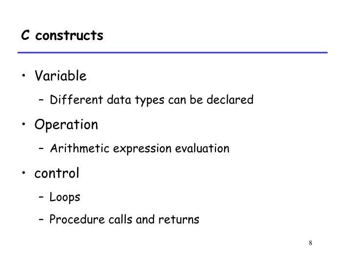 C constructs