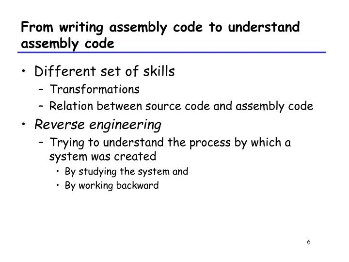 From writing assembly code to understand assembly code