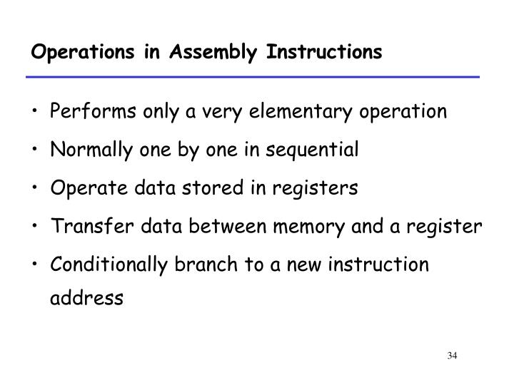 Operations in Assembly Instructions