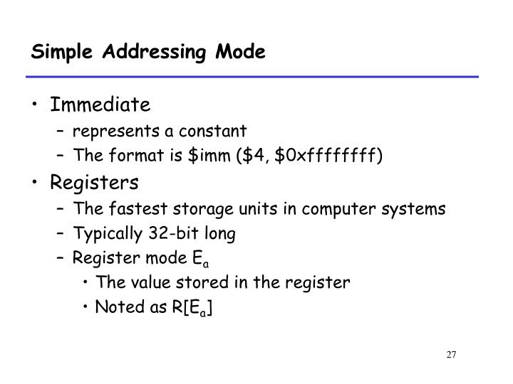 Simple Addressing Mode