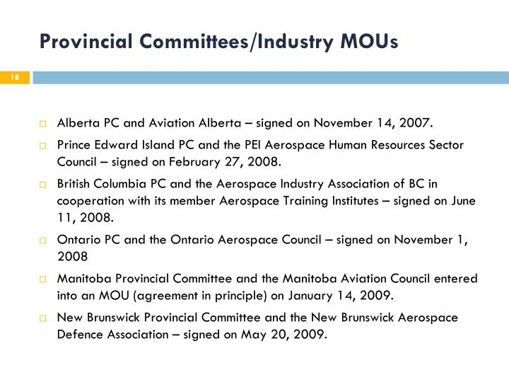 Provincial Committees/Industry MOUs