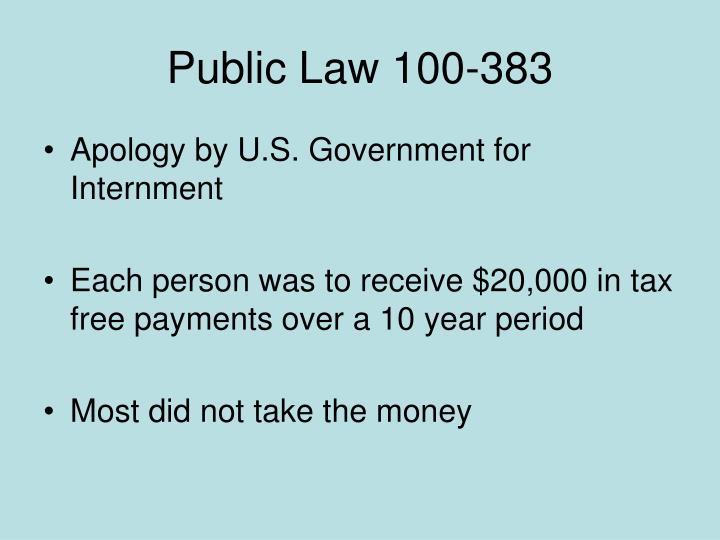 Public Law 100-383
