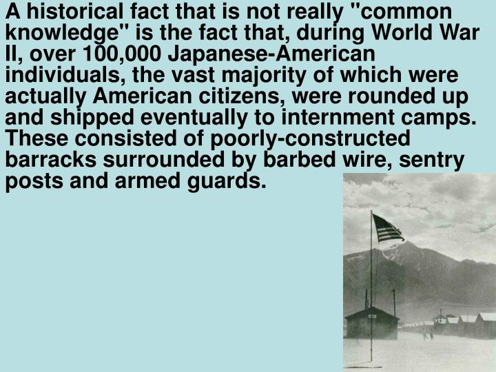 """A historical fact that is not really """"common knowledge"""" is the fact that, during World War II, over 100,000 Japanese-American individuals, the vast majority of which were actually American citizens, were rounded up and shipped eventually to internment camps. These consisted of poorly-constructed barracks surrounded by barbed wire, sentry posts and armed guards."""