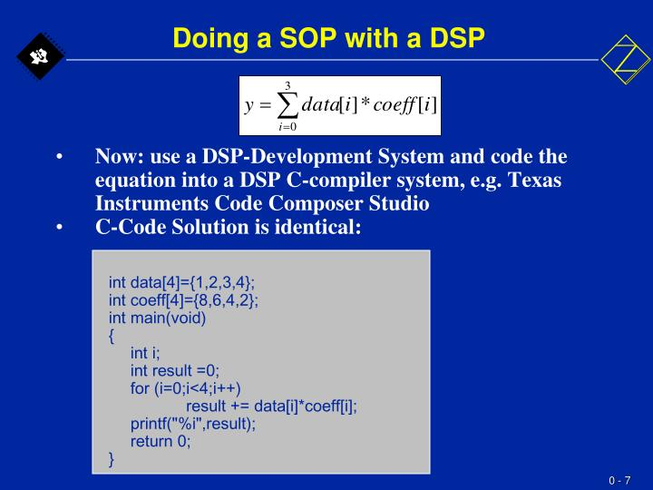 Doing a SOP with a DSP