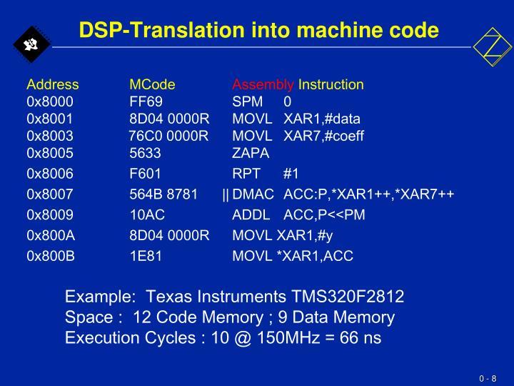 DSP-Translation into machine code