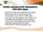 mfma legislative manadate for mec dlgta