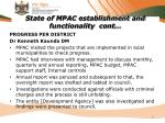state of mpac establishment and functionality cont