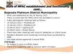 state of mpac establishment and functionality cont10