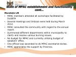 state of mpac establishment and functionality cont13