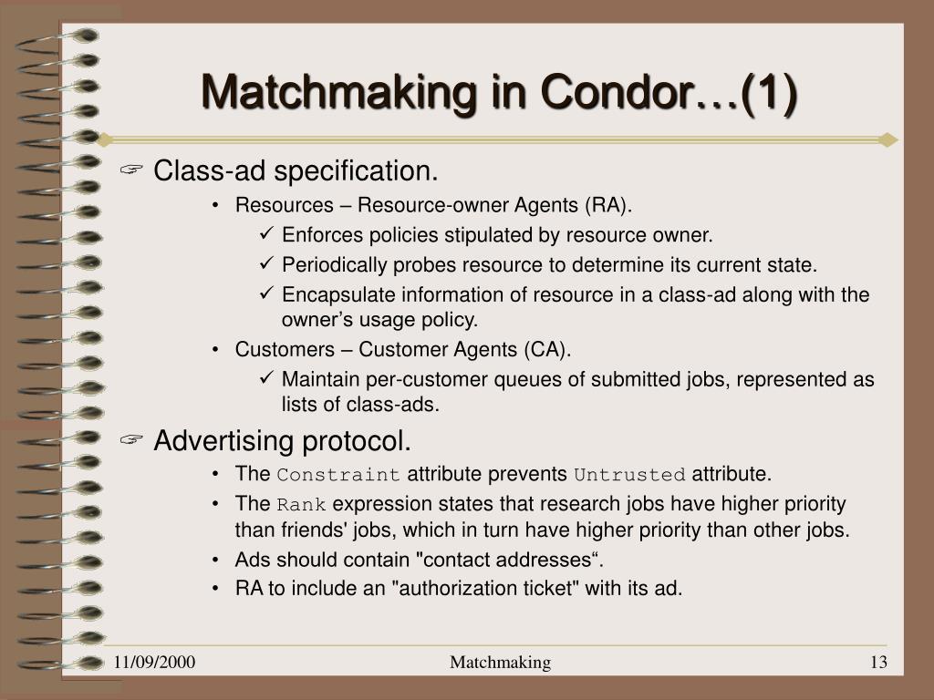 Matchmaking distributed resource management voor high throughput computing Nasaan ang dating van de