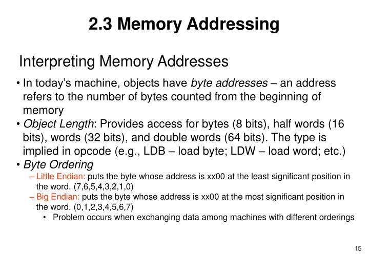 2.3 Memory Addressing