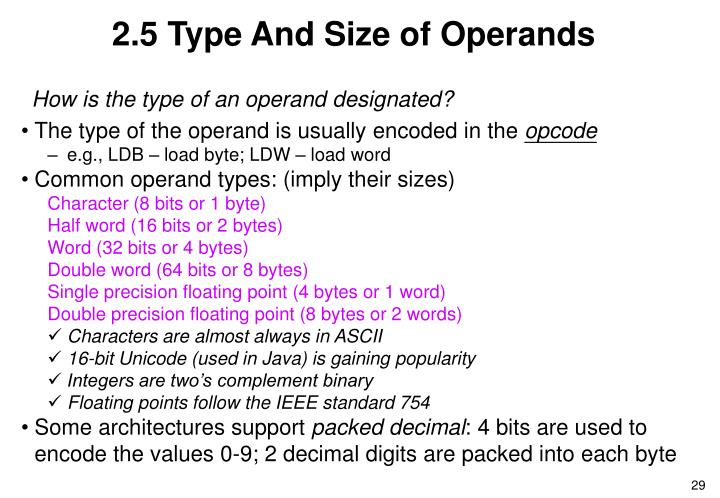 2.5 Type And Size of Operands