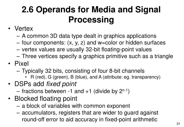 2.6 Operands for Media and Signal Processing