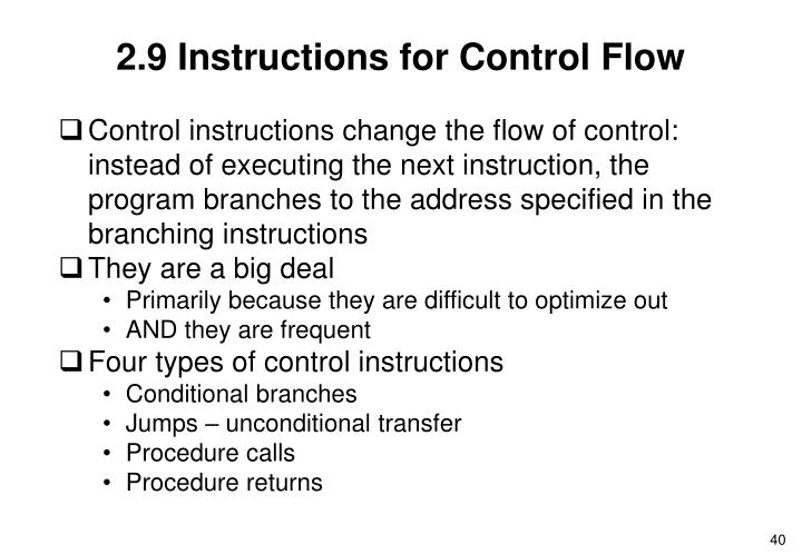 2.9 Instructions for Control Flow