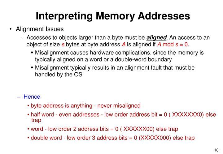 Interpreting Memory Addresses