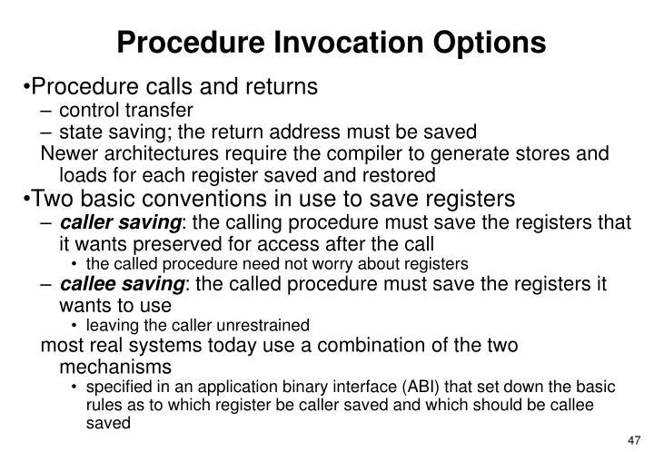Procedure Invocation Options