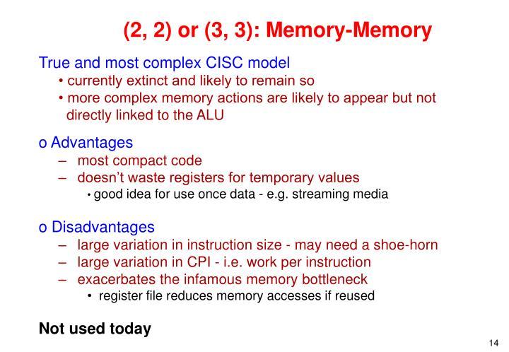 (2, 2) or (3, 3): Memory-Memory