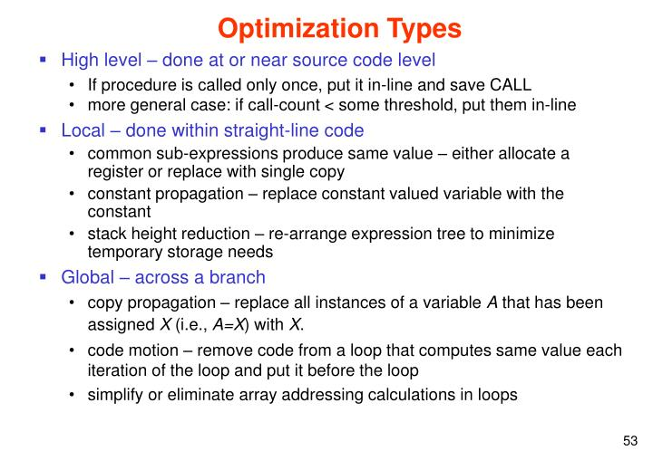 Optimization Types