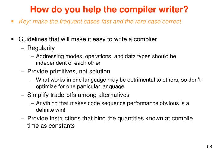 How do you help the compiler writer?