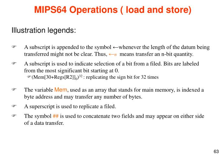 MIPS64 Operations ( load and store)