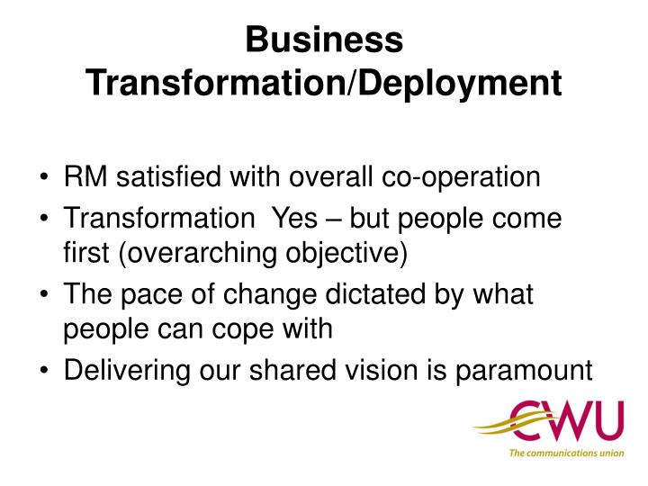 Business Transformation/Deployment