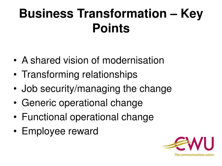 Business transformation key points