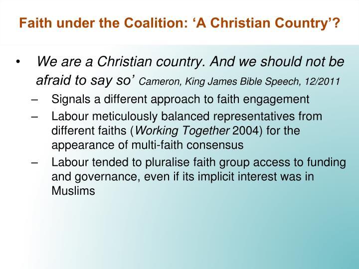 Faith under the Coalition: 'A Christian Country'?