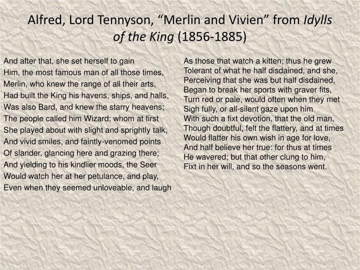 """Alfred, Lord Tennyson, """"Merlin and Vivien"""" from"""