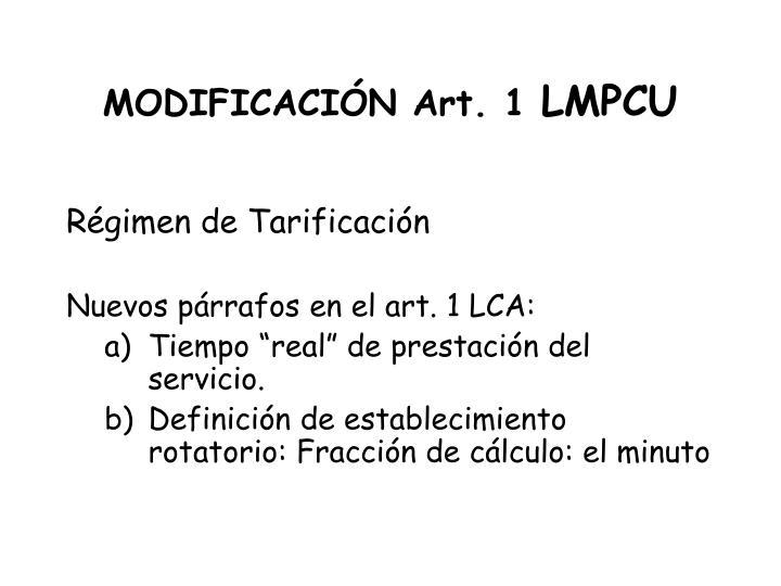 MODIFICACIÓN Art. 1