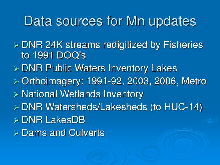 Data sources for Mn updates