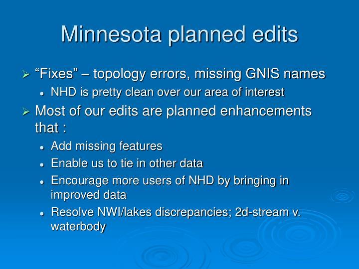 Minnesota planned edits