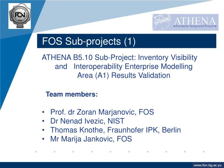 FOS Sub-projects (1)