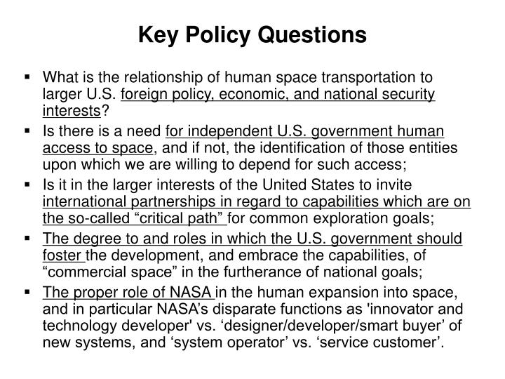 Key Policy Questions