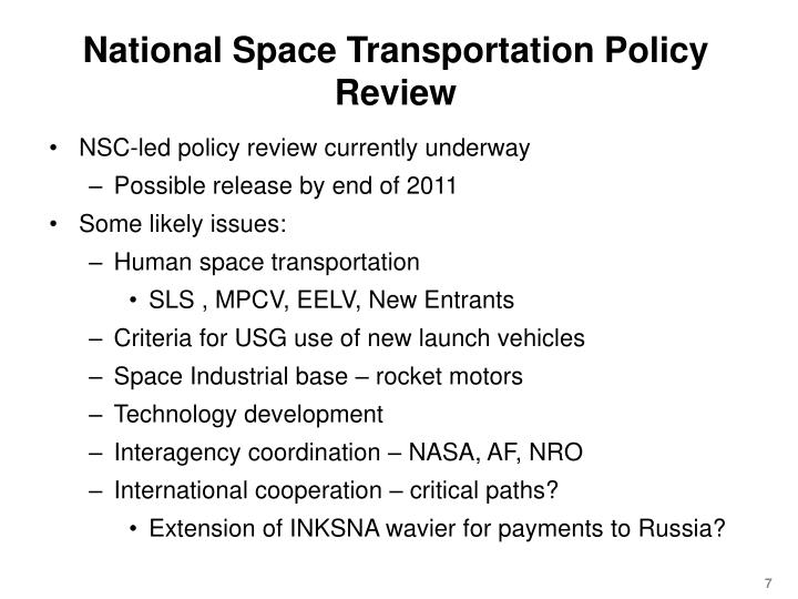 National Space Transportation Policy Review