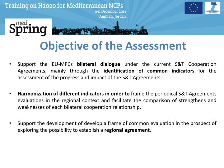 Objective of the assessment
