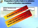 proposition d outils d aide la validation d une certification interm diaire