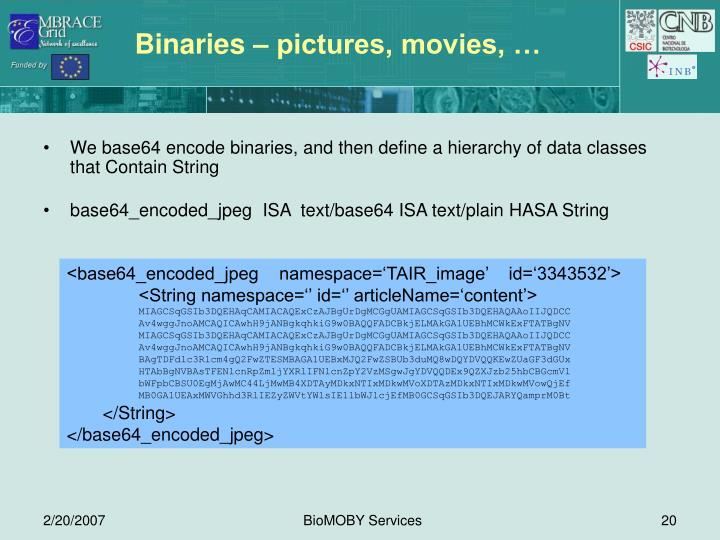Binaries – pictures, movies, …