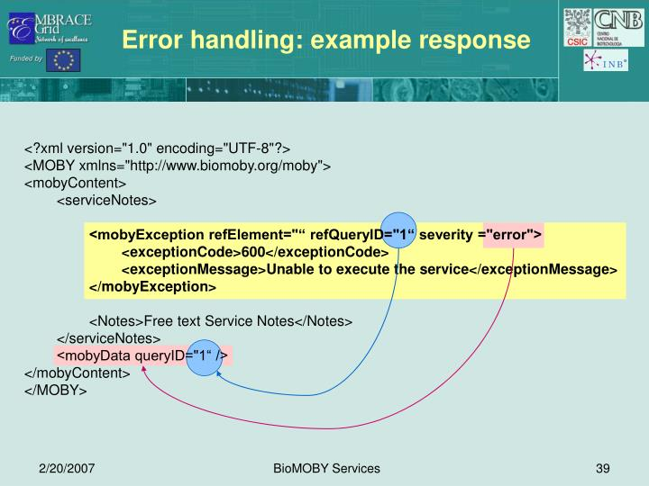 Error handling: example response