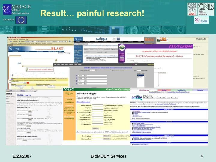 Result… painful research!
