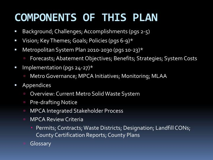 COMPONENTS OF THIS PLAN