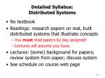 detailed syllabus distributed systems