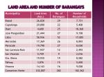 land area and number of barangays