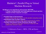 harness parallel plug in virtual machine research
