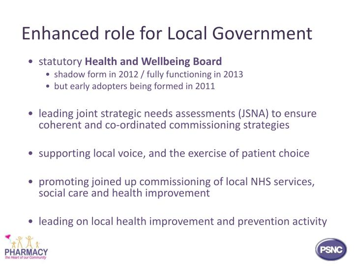 Enhanced role for Local Government
