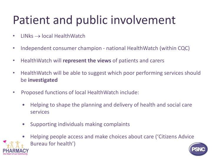 Patient and public involvement