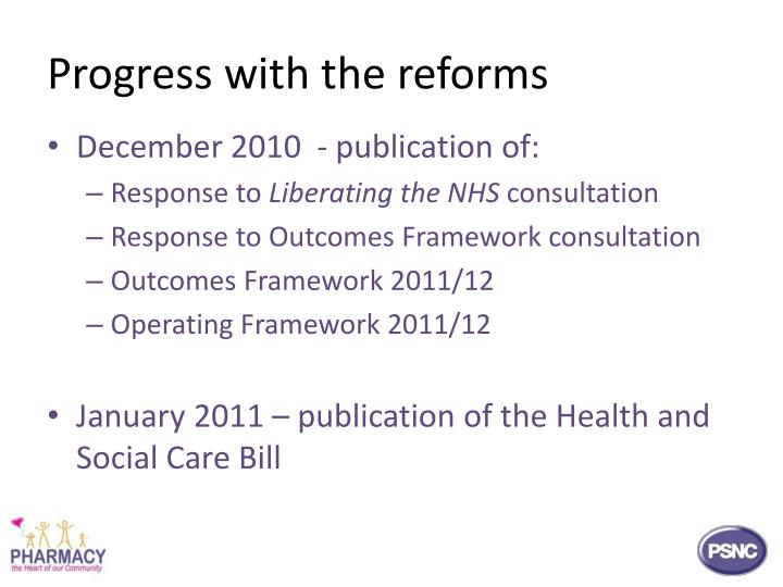 Progress with the reforms