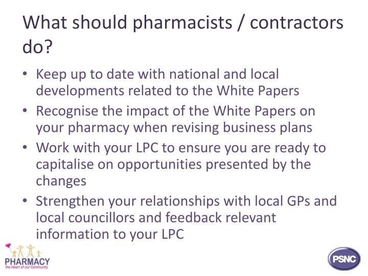What should pharmacists / contractors do?