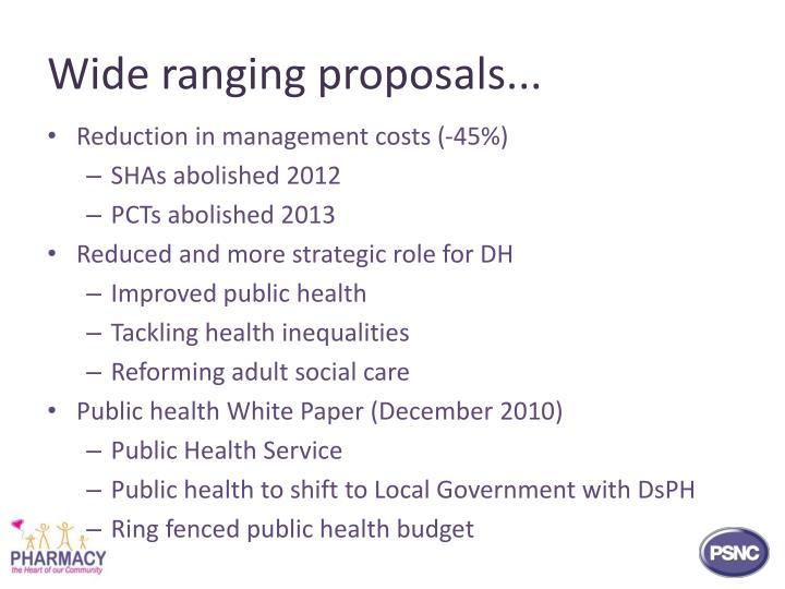 Wide ranging proposals...