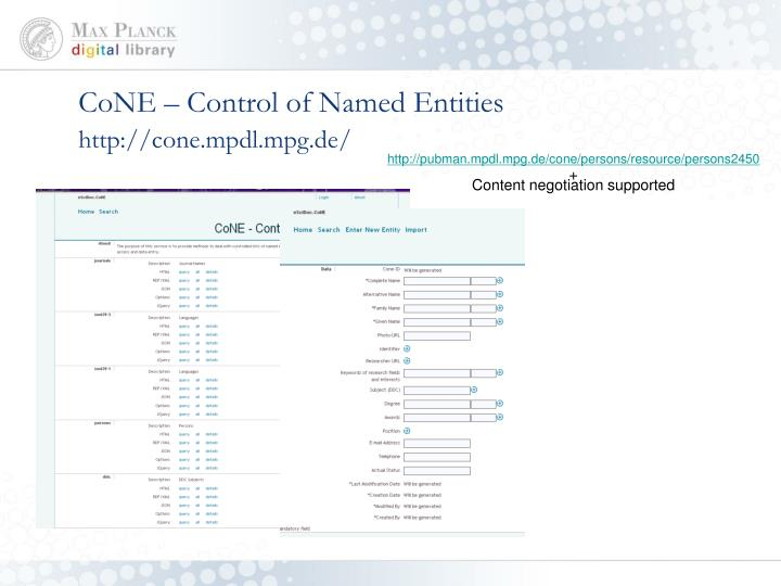 CoNE – Control of Named Entities